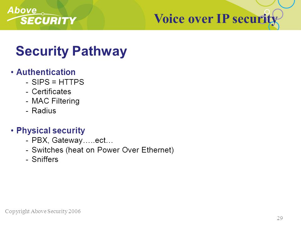 Copyright Above Security 2006 29 Security Pathway Authentication -SIPS = HTTPS -Certificates -MAC Filtering -Radius Physical security -PBX, Gateway…..ect… -Switches (heat on Power Over Ethernet) -Sniffers Voice over IP security