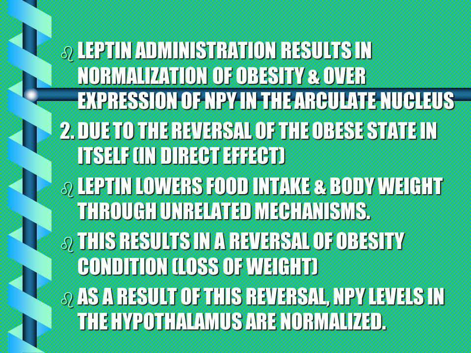 EVIDENCE b REDUCTION OF NPY IN ARN (43%) AFTER 4.1% WEIGHT LOSS IN OB GROUP CAN CONCLUDE THAT THE EFFECT OF LEPTIN TO DECREASE NPY IN OB/OB MICE OCCURS BEFORE SIGNIFICANT CHANGES IN BODY ADIPOSITY.