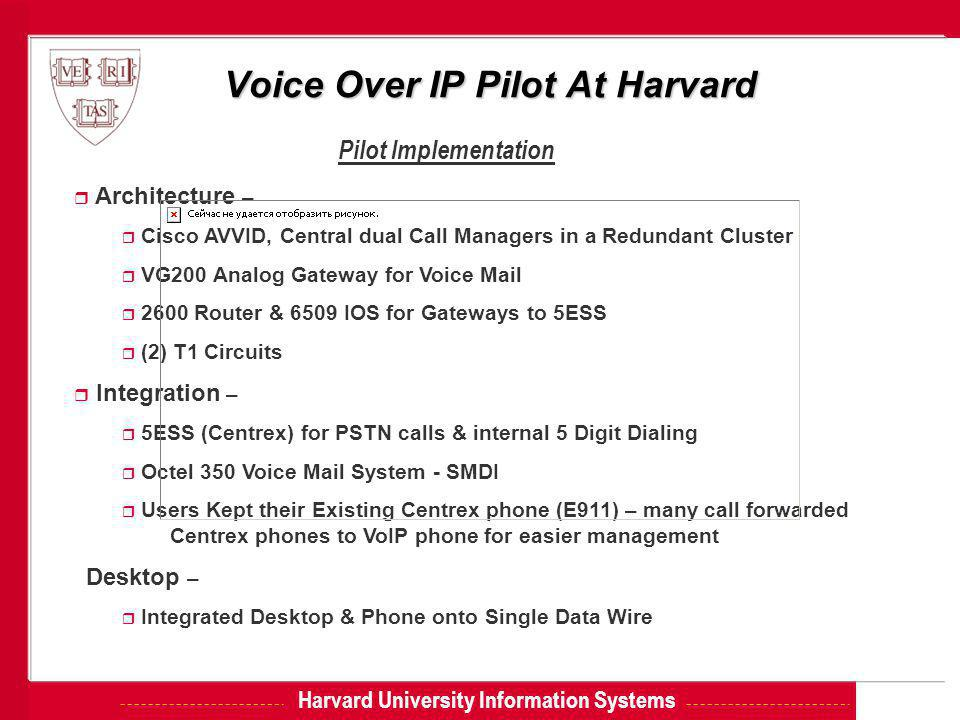 Harvard University Information Systems Voice Over IP Pilot At Harvard Pilot Implementation r Architecture – r Cisco AVVID, Central dual Call Managers in a Redundant Cluster r VG200 Analog Gateway for Voice Mail r 2600 Router & 6509 IOS for Gateways to 5ESS r (2) T1 Circuits r Integration – r 5ESS (Centrex) for PSTN calls & internal 5 Digit Dialing r Octel 350 Voice Mail System - SMDI r Users Kept their Existing Centrex phone (E911) – many call forwarded Centrex phones to VoIP phone for easier management Desktop – r Integrated Desktop & Phone onto Single Data Wire