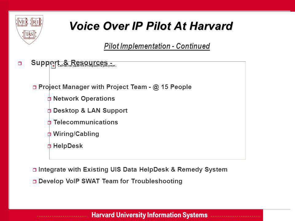 Harvard University Information Systems Voice Over IP Pilot At Harvard Pilot Implementation - Continued r Support & Resources - r Project Manager with