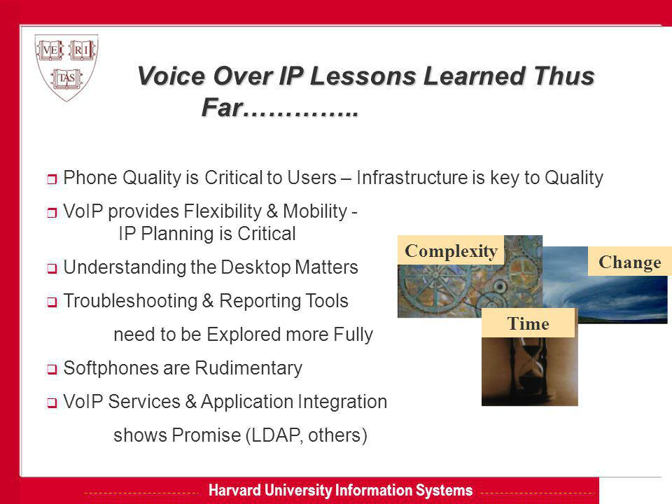 Harvard University Information Systems Voice Over IP Lessons Learned Thus Far…………..
