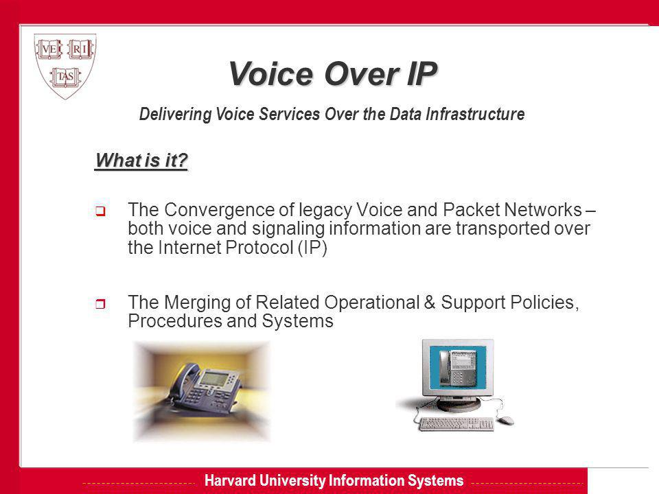 Harvard University Information Systems What is it?  The Convergence of legacy Voice and Packet Networks – both voice and signaling information are tr