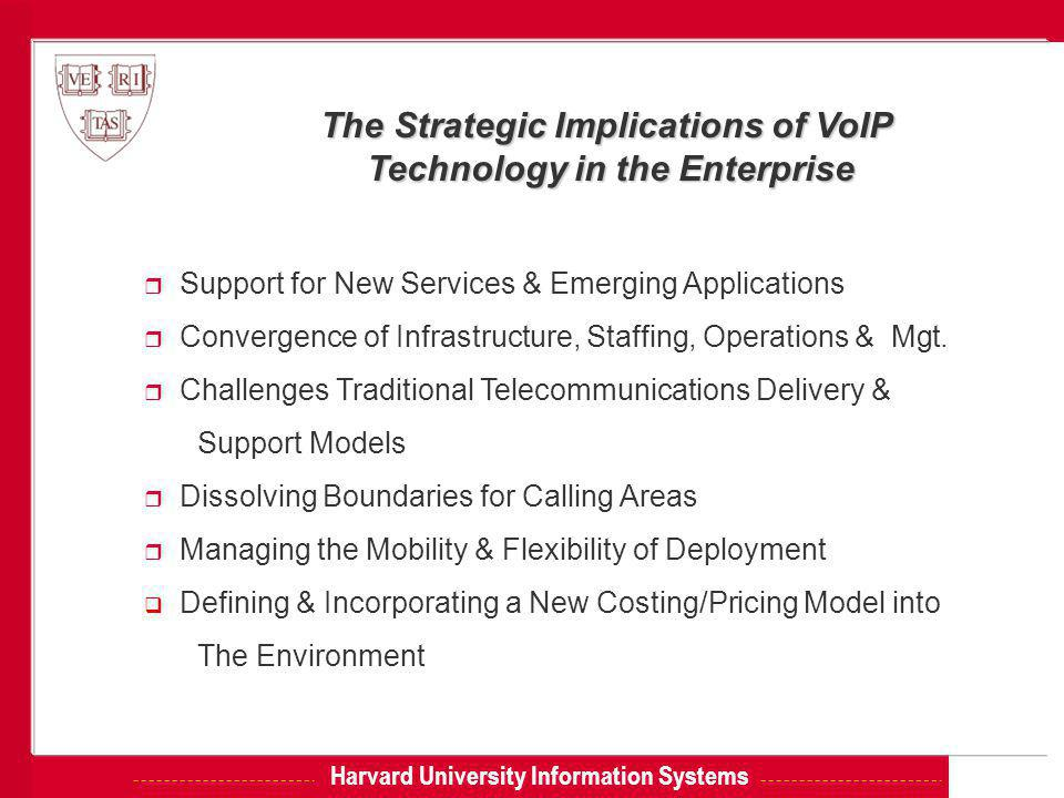 Harvard University Information Systems The Strategic Implications of VoIP Technology in the Enterprise r Support for New Services & Emerging Applications r Convergence of Infrastructure, Staffing, Operations & Mgt.