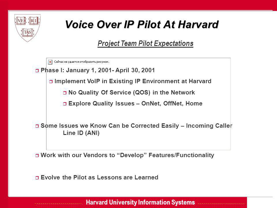 Harvard University Information Systems Voice Over IP Pilot At Harvard Project Team Pilot Expectations r Phase I: January 1, 2001- April 30, 2001 r Imp