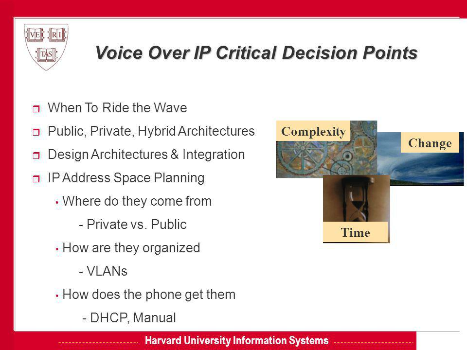 Harvard University Information Systems Voice Over IP Critical Decision Points r When To Ride the Wave r Public, Private, Hybrid Architectures r Design Architectures & Integration r IP Address Space Planning Where do they come from - Private vs.