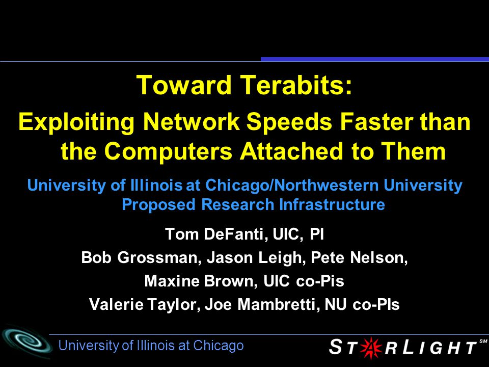 University of Illinois at Chicago September, 2002, Amsterdam, The Netherlands Grid 2 oo 2 www.startap.net/igrid2002 University of Illinois at Chicago and Indiana University in collaboration with The GigaPort Project and SURFnet5 of The Netherlands Grid-Intensive Application Control of Lambda- Switched Networks i Maxine Brown STAR TAP/StarLight co-Principal Investigator Associate Director, Electronic Visualization Laboratory A showcase of applications that are early adopters of very high bandwidth national and international networks Coming…..