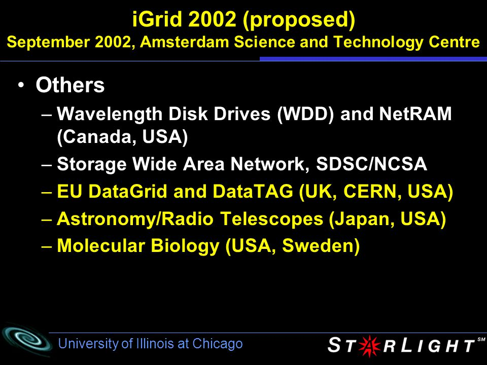 University of Illinois at Chicago StarLight Located in Northwestern's Downtown Campus Dark Fiber to UIC Carrier POPs Chicago NAP NU UIC