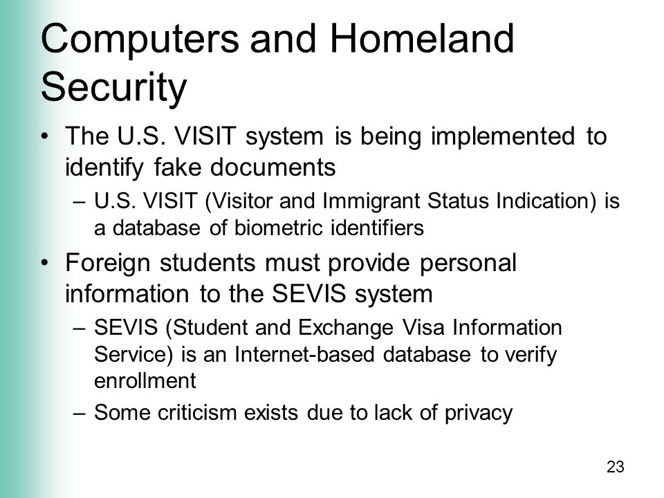 23 Computers and Homeland Security The U.S.