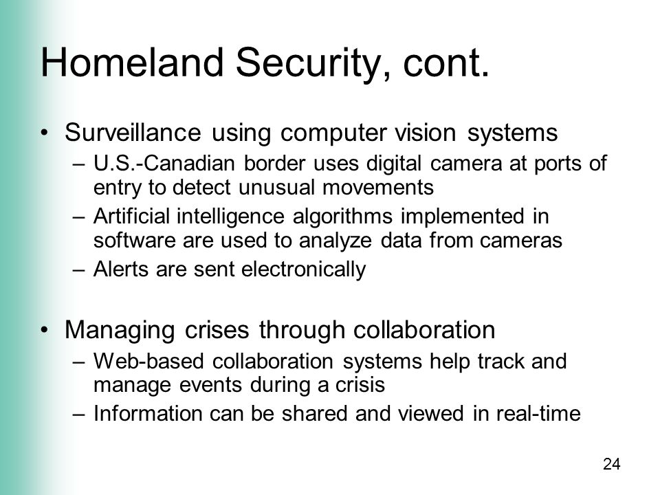 24 Homeland Security, cont.