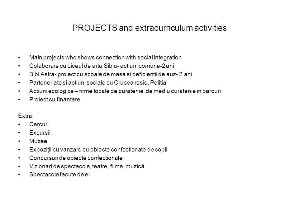 PROJECTS and extracurriculum activities Main projects who shows connection with social integration Colaborare cu Liceul de arta Sibiu- actiuni comune-2 ani Bibl Astra- proiect cu scoala de masa si deficientii de auz- 2 ani Parteneriate si actiuni sociale cu Crucea rosie, Politia Actiuni ecologice – firme locale de curatenie, de mediu curatenie in parcuri Proiect cu finantare Extra: Cercuri Excursii Muzee Expoziţii cu vanzare cu obiecte confectionate de copii Concursuri de obiecte confectionate Vizionari de spectacole, teatre, filme, muzică Spectacole facute de ei