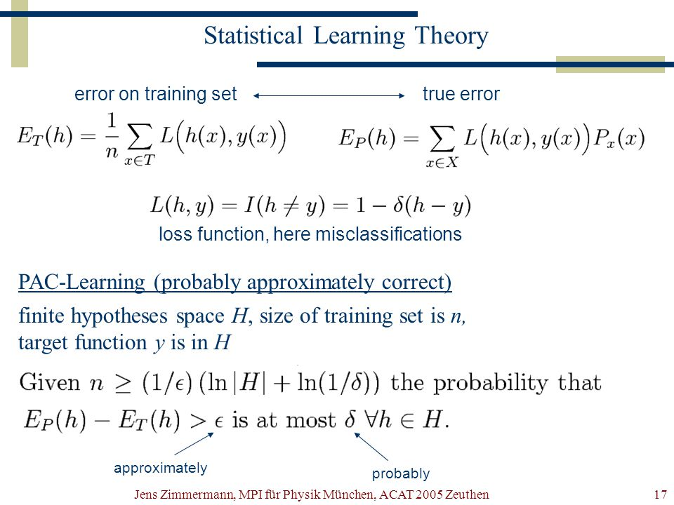 Jens Zimmermann, MPI für Physik München, ACAT 2005 Zeuthen17 Statistical Learning Theory error on training settrue error loss function, here misclassi