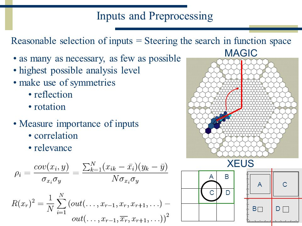 Jens Zimmermann, MPI für Physik München, ACAT 2005 Zeuthen7 Inputs and Preprocessing Reasonable selection of inputs = Steering the search in function