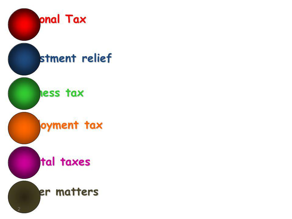 Other matters Capital taxes Employment tax 2 Business tax Investment relief Personal Tax
