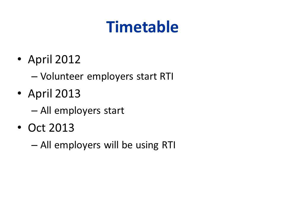 Timetable April 2012 – Volunteer employers start RTI April 2013 – All employers start Oct 2013 – All employers will be using RTI