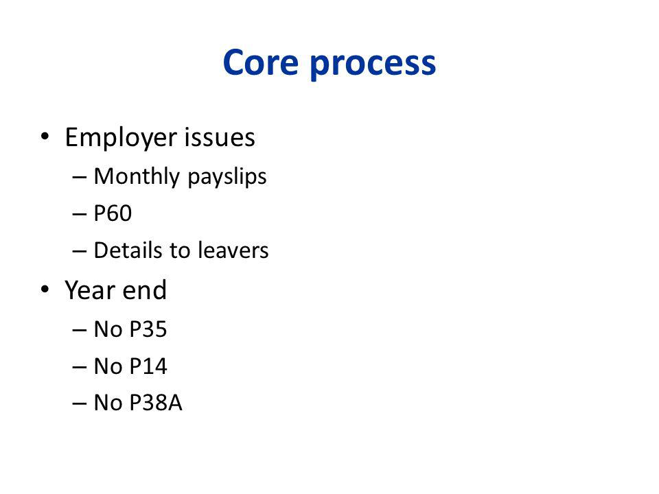 Core process Employer issues – Monthly payslips – P60 – Details to leavers Year end – No P35 – No P14 – No P38A