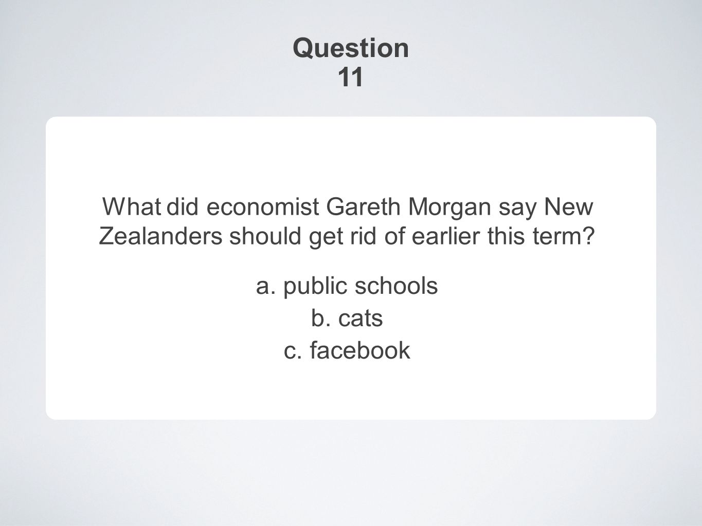 Question 11 What did economist Gareth Morgan say New Zealanders should get rid of earlier this term.