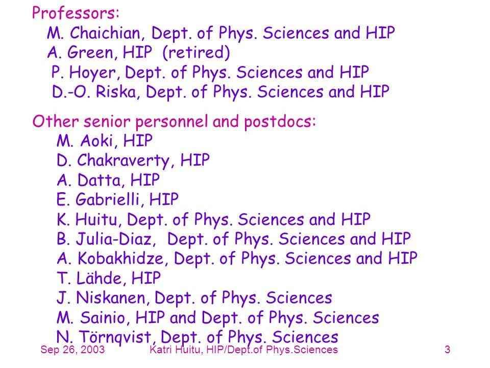 Sep 26, 2003Katri Huitu, HIP/Dept.of Phys.Sciences3 Professors: M. Chaichian, Dept. of Phys. Sciences and HIP A. Green, HIP (retired) P. Hoyer, Dept.
