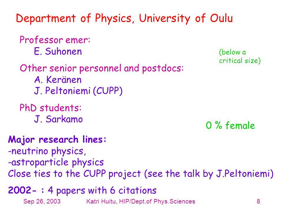 Sep 26, 2003Katri Huitu, HIP/Dept.of Phys.Sciences8 Department of Physics, University of Oulu Professor emer: E. Suhonen Other senior personnel and po