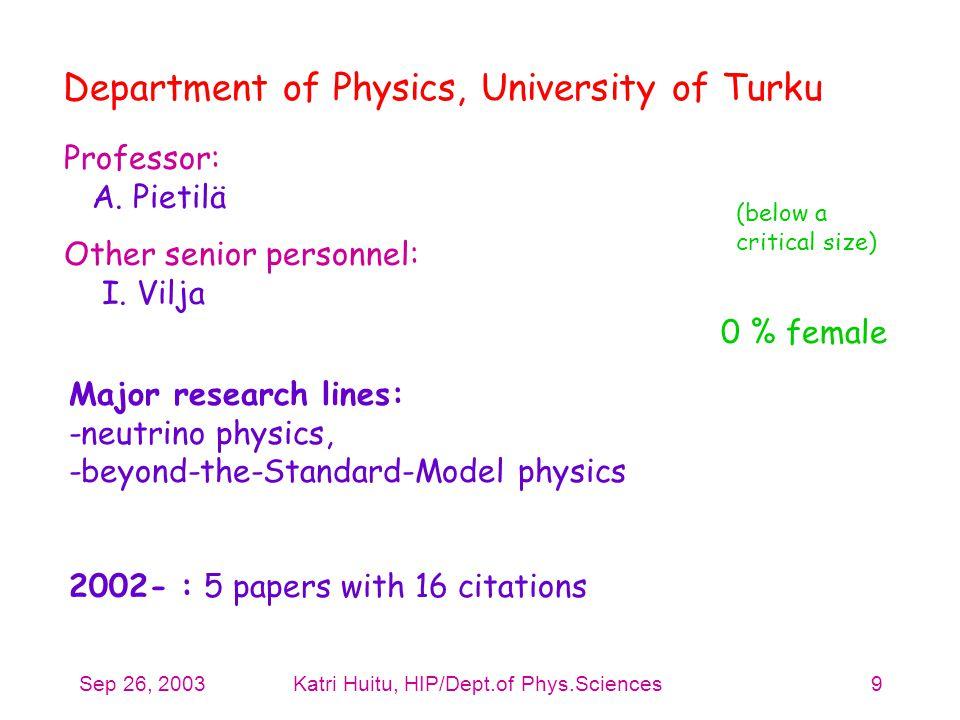 Sep 26, 2003Katri Huitu, HIP/Dept.of Phys.Sciences9 Professor: A. Pietilä Other senior personnel: I. Vilja Department of Physics, University of Turku