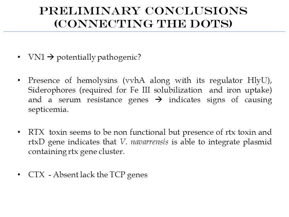 Preliminary Conclusions (Connecting the dots) VN1  potentially pathogenic.