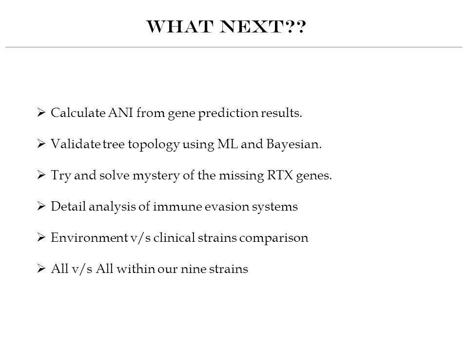 WHAT NEXT?.  Calculate ANI from gene prediction results.