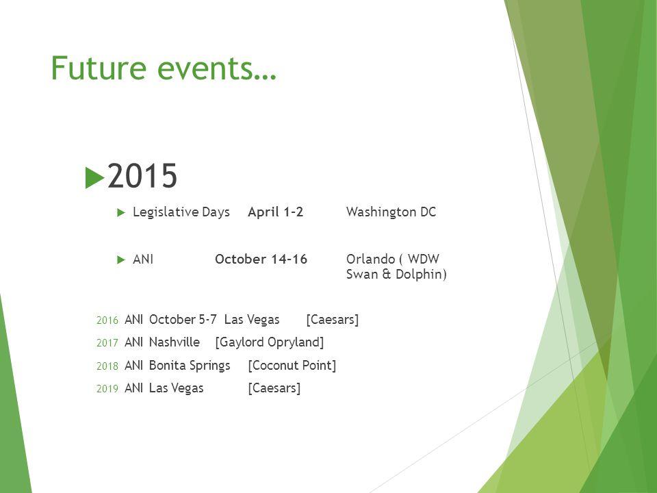 Future events…  2015  Legislative DaysApril 1-2 Washington DC  ANIOctober 14-16Orlando ( WDW Swan & Dolphin) 2016 ANIOctober 5-7 Las Vegas [Caesars] 2017 ANINashville [Gaylord Opryland] 2018 ANIBonita Springs[Coconut Point] 2019 ANILas Vegas[Caesars]