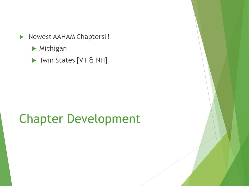 Chapter Development  Newest AAHAM Chapters!!  Michigan  Twin States [VT & NH]