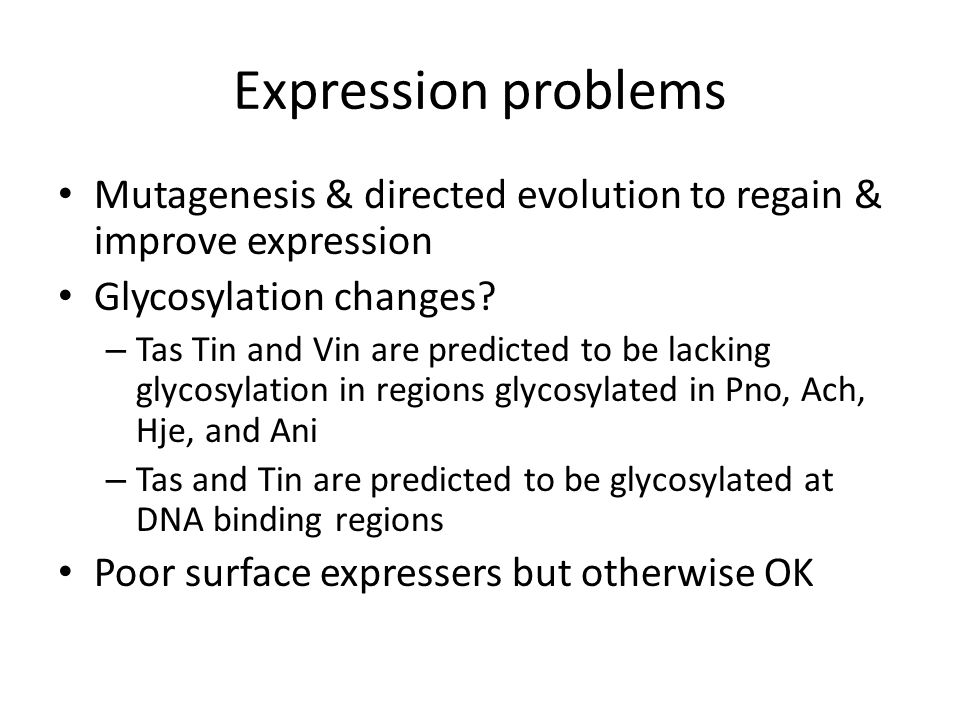 Expression problems Mutagenesis & directed evolution to regain & improve expression Glycosylation changes.
