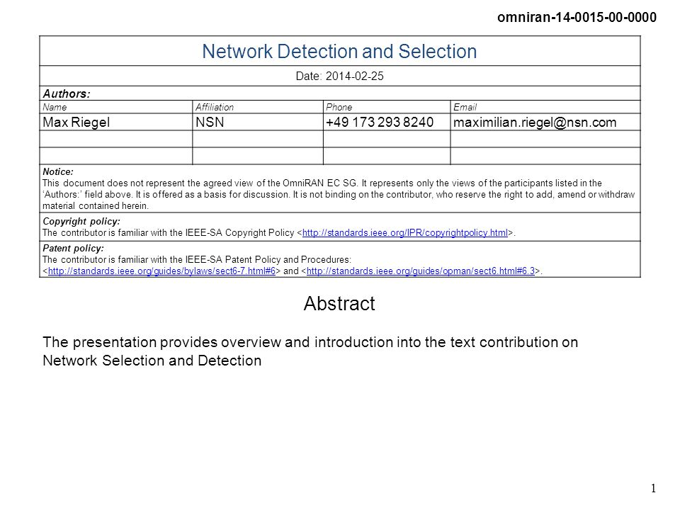 omniran-14-0015-00-0000 2 Network Detection and Selection Overview and Introduction Max Riegel (NSN)