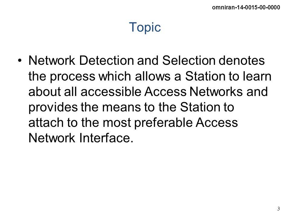 omniran-14-0015-00-0000 4 OmniRAN Access Scenario CORE Internet R1 R3 STA R2 CORE Internet R3 R5 R3 AN ANI AN ANI AN ANI STAStation ANAccess Network ANIAccess Network Interface CORECOntrol and Router Entitiy