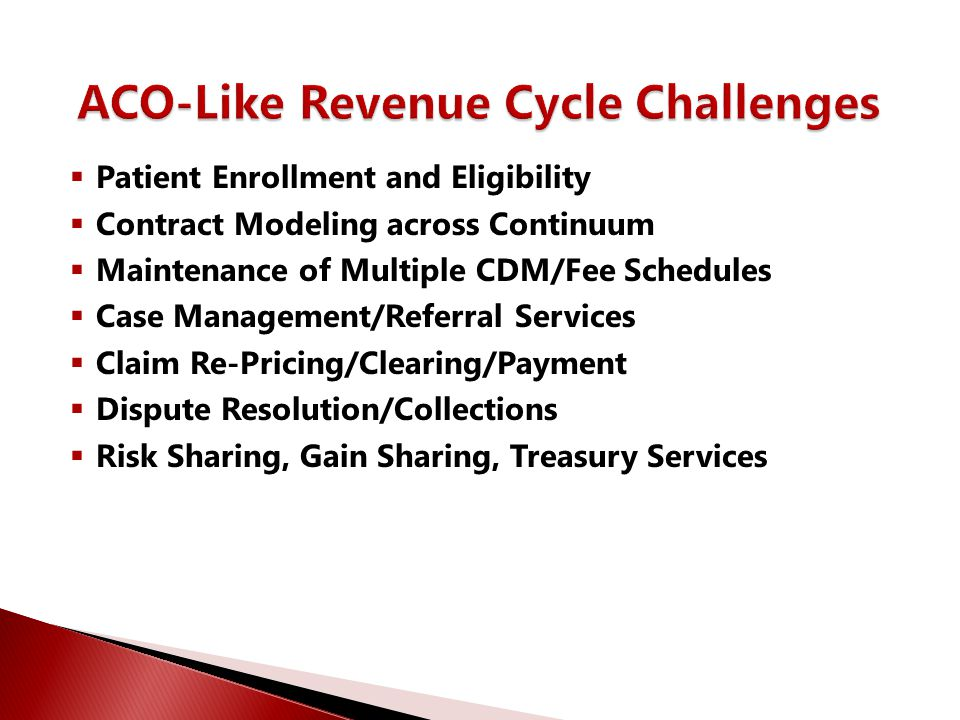  Patient Enrollment and Eligibility  Contract Modeling across Continuum  Maintenance of Multiple CDM/Fee Schedules  Case Management/Referral Servi