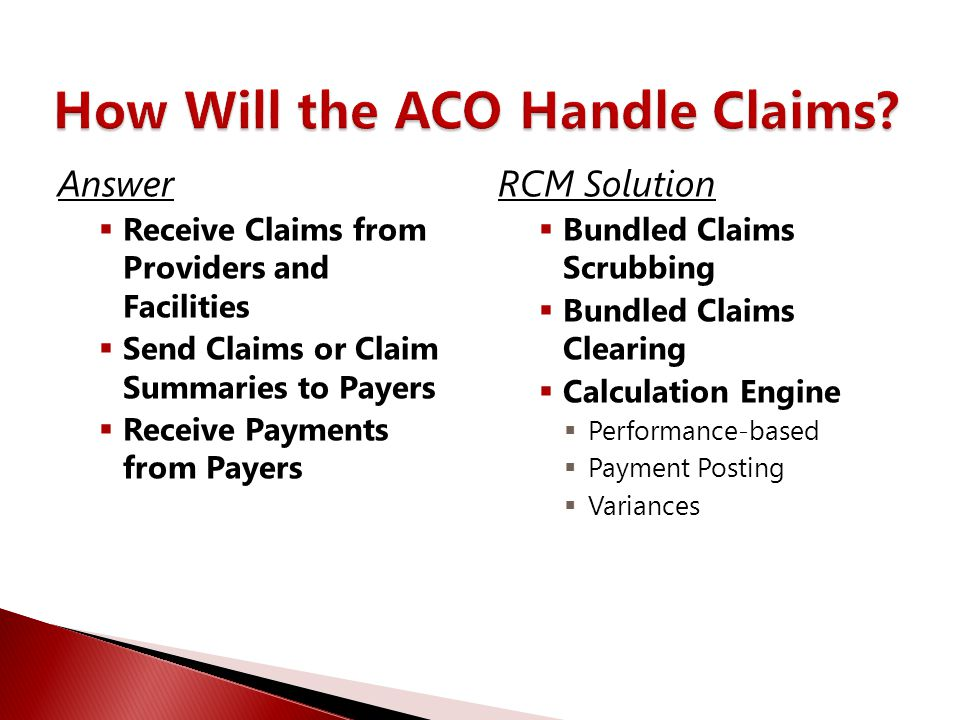 Answer  Receive Claims from Providers and Facilities  Send Claims or Claim Summaries to Payers  Receive Payments from Payers RCM Solution  Bundled