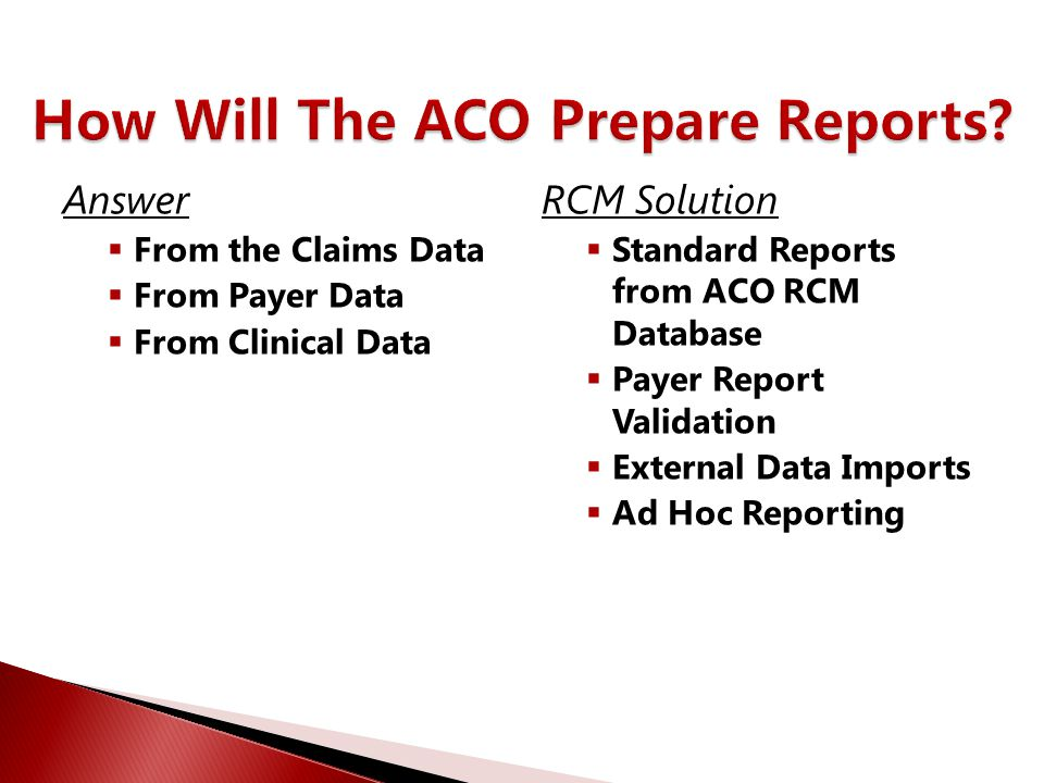 Answer  From the Claims Data  From Payer Data  From Clinical Data RCM Solution  Standard Reports from ACO RCM Database  Payer Report Validation 