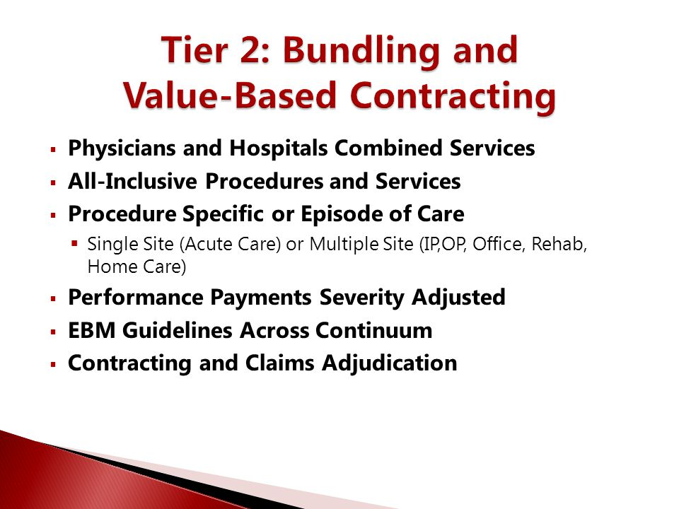  Integrated Physician/Hospital Organization  Responsible for Identified Populations  Direct Contracting with Buyers  Accept Risk for Defined Patient Services  Have an Information Platform to Measure Clinical Performance and Perform Financial Transactions  Act like a Payer?