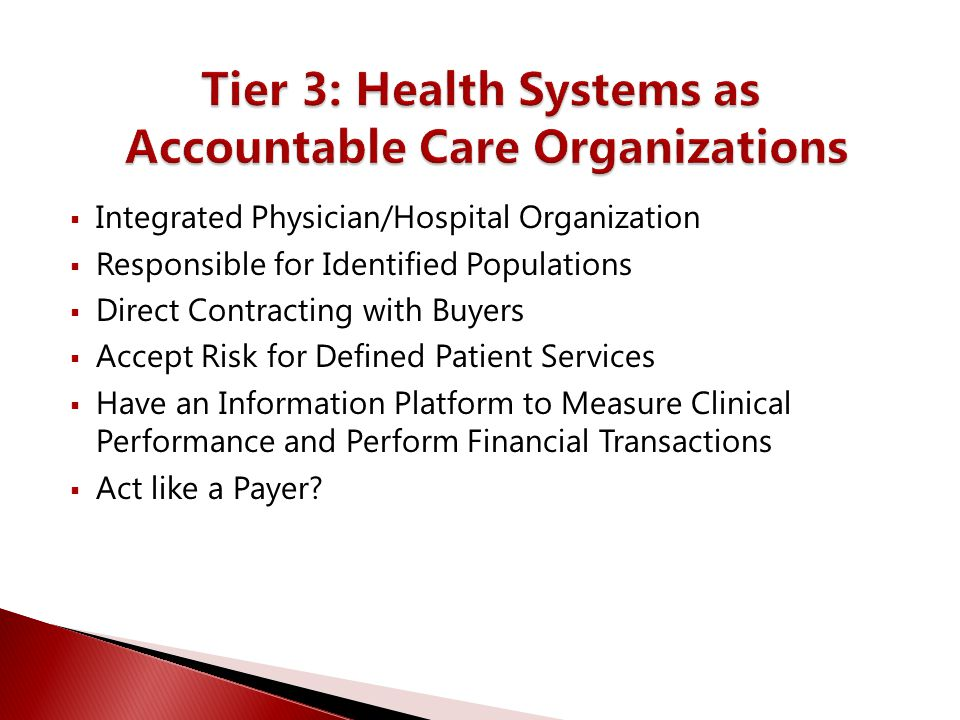  Integrated Physician/Hospital Organization  Responsible for Identified Populations  Direct Contracting with Buyers  Accept Risk for Defined Patie