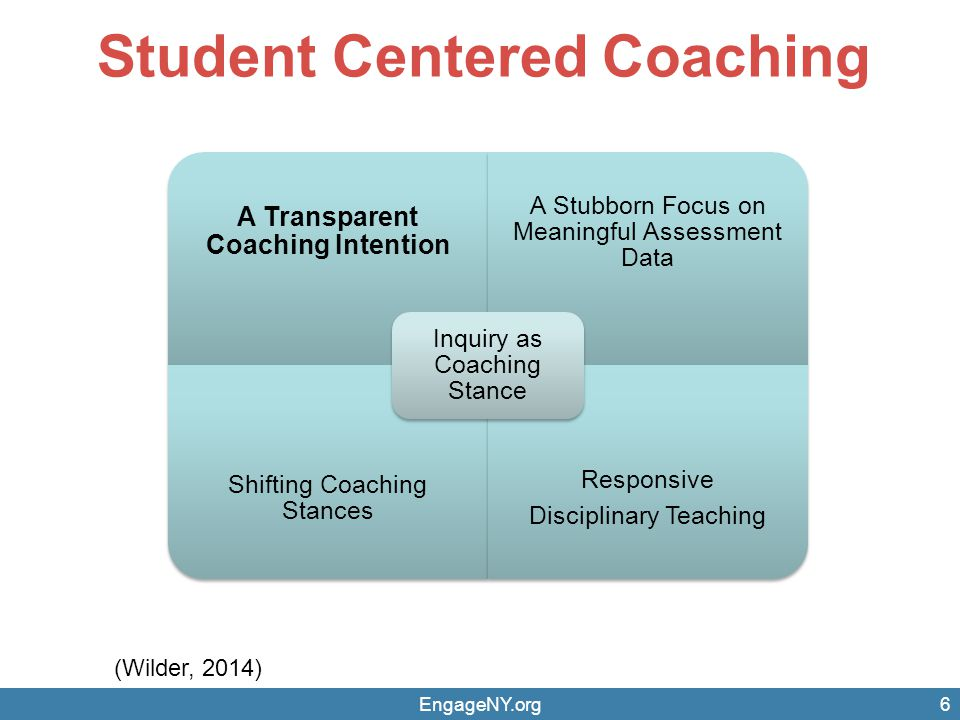 Student Centered Coaching (Wilder, 2014) 6 A Transparent Coaching Intention A Stubborn Focus on Meaningful Assessment Data Shifting Coaching Stances Responsive Disciplinary Teaching Inquiry as Coaching Stance EngageNY.org