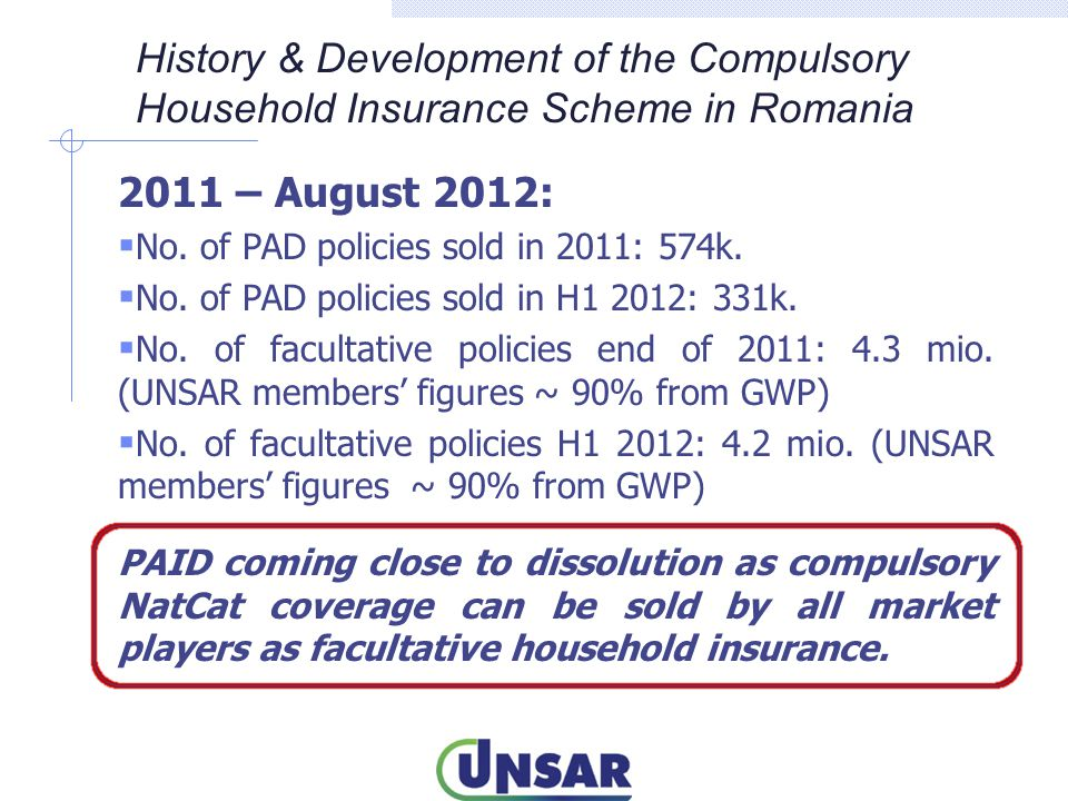 2011 – August 2012:  No. of PAD policies sold in 2011: 574k.