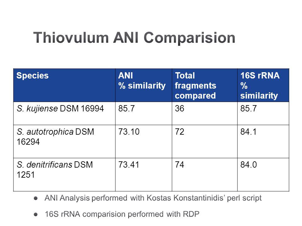 SpeciesANI % similarity Total fragments compared 16S rRNA % similarity S. kujiense DSM 1699485.73685.7 S. autotrophica DSM 16294 73.107284.1 S. denitr