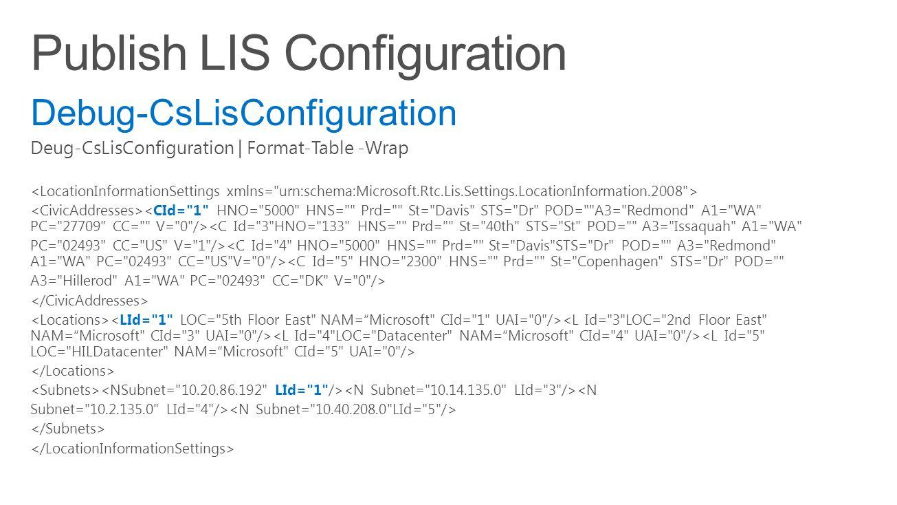 Debug-CsLisConfiguration Deug-CsLisConfiguration | Format-Table -Wrap <C Id= 3 HNO= 133 HNS= Prd= St= 40th STS= St POD= A3= Issaquah A1= WA PC= 02493 CC= US V= 1 /> <C Id= 5 HNO= 2300 HNS= Prd= St= Copenhagen STS= Dr POD= A3= Hillerod A1= WA PC= 02493 CC= DK V= 0 /> <N Subnet= 10.2.135.0 LId= 4 />