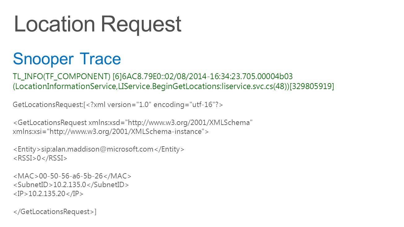 TL_INFO(TF_COMPONENT) [6]6AC8.79E0::02/08/2014-16:34:23.705.00004b03 (LocationInformationService,LIService.BeginGetLocations:liservice.svc.cs(48))[329805919] GetLocationsRequest:[ sip:alan.maddison@microsoft.com 0 00-50-56-a6-5b-26 10.2.135.0 10.2.135.20 ] Snooper Trace