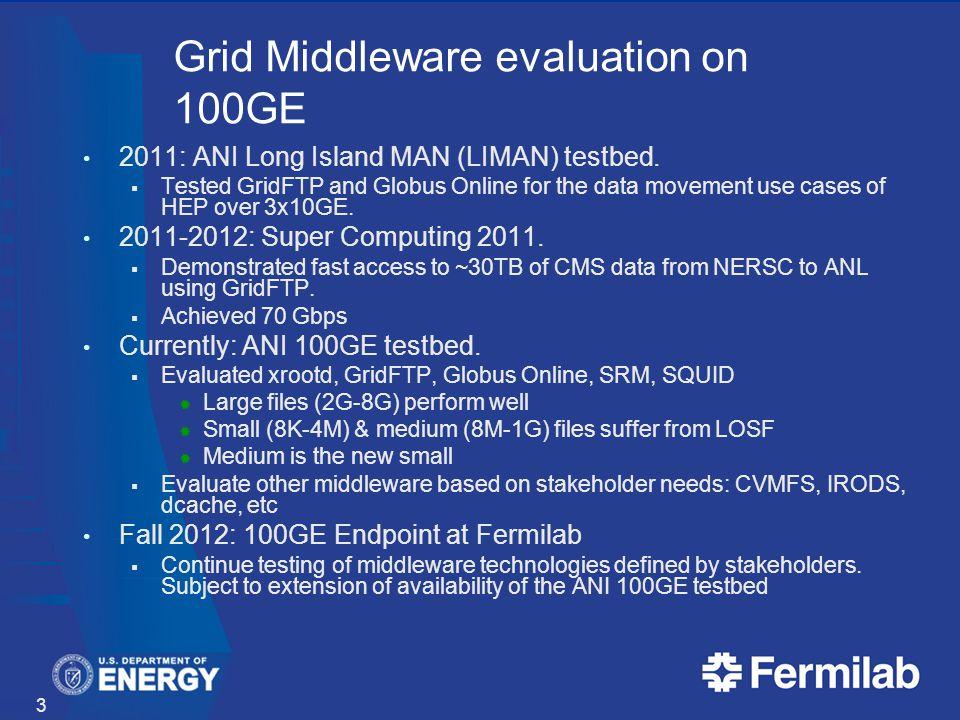 Grid Middleware evaluation on 100GE 2011: ANI Long Island MAN (LIMAN) testbed.