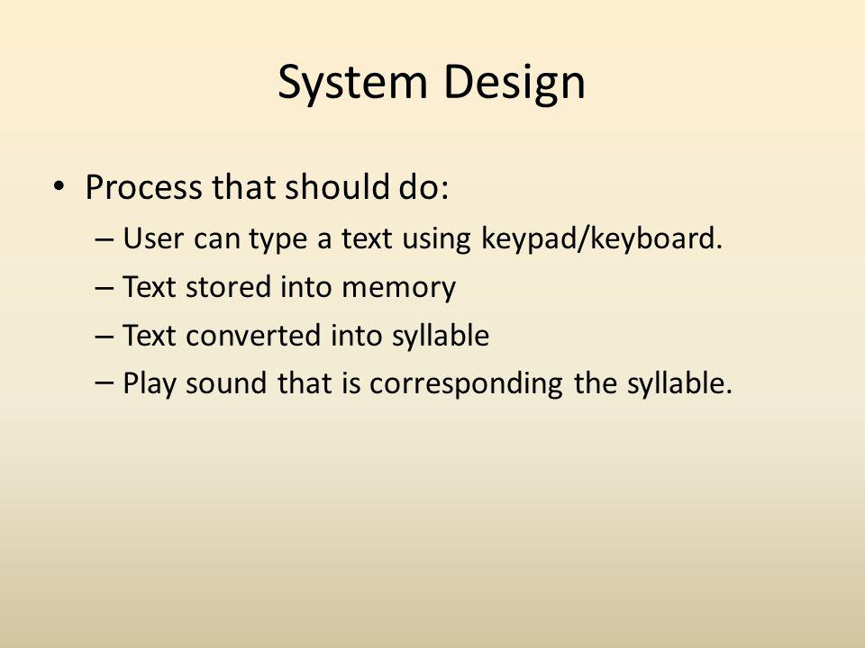 System Design Process that should do: – User can type a text using keypad/keyboard.