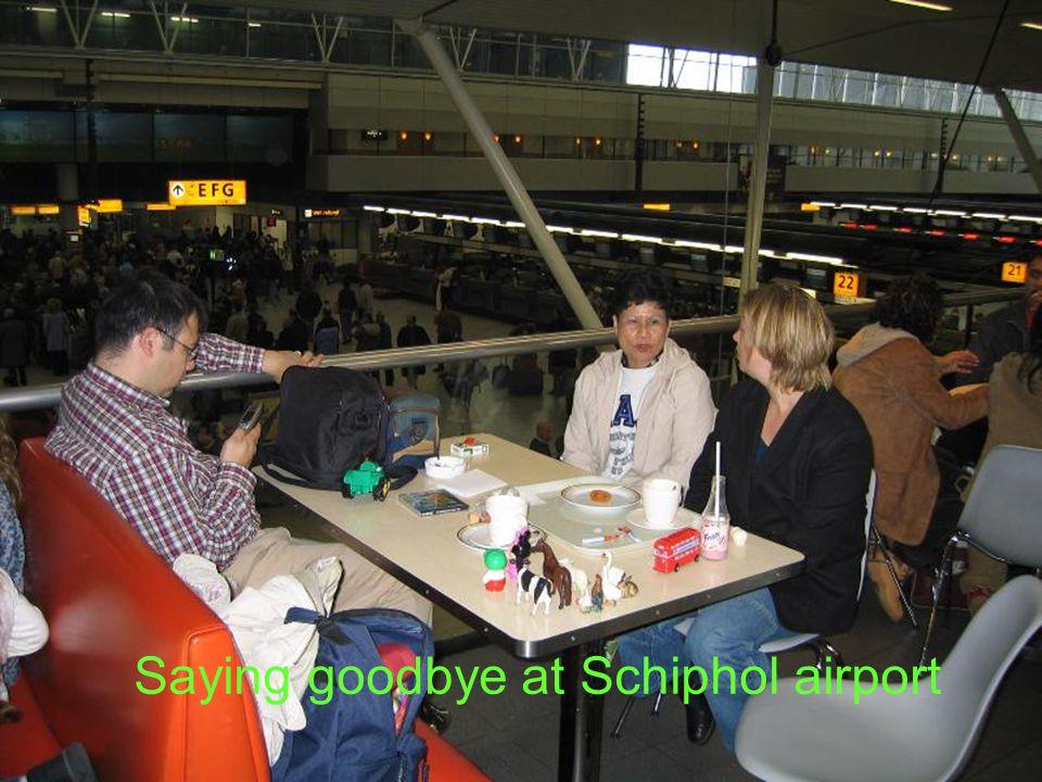 Saying goodbye at Schiphol airport