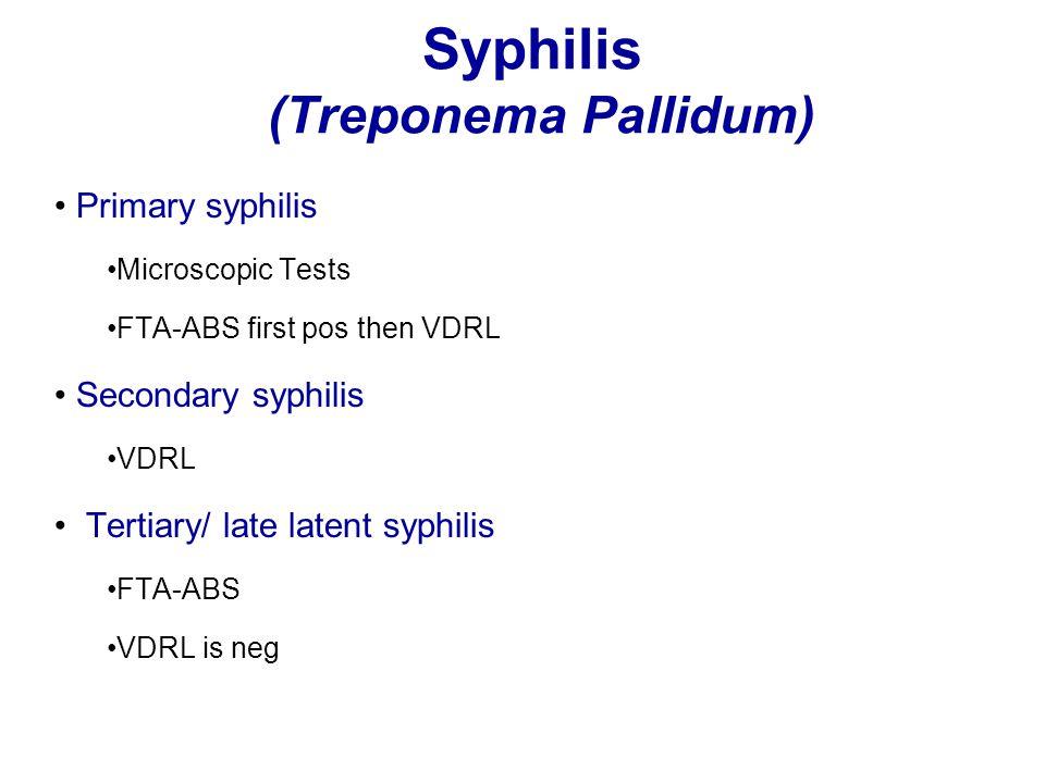 Syphilis (Treponema Pallidum) Primary syphilis Microscopic Tests FTA-ABS first pos then VDRL Secondary syphilis VDRL Tertiary/ late latent syphilis FT