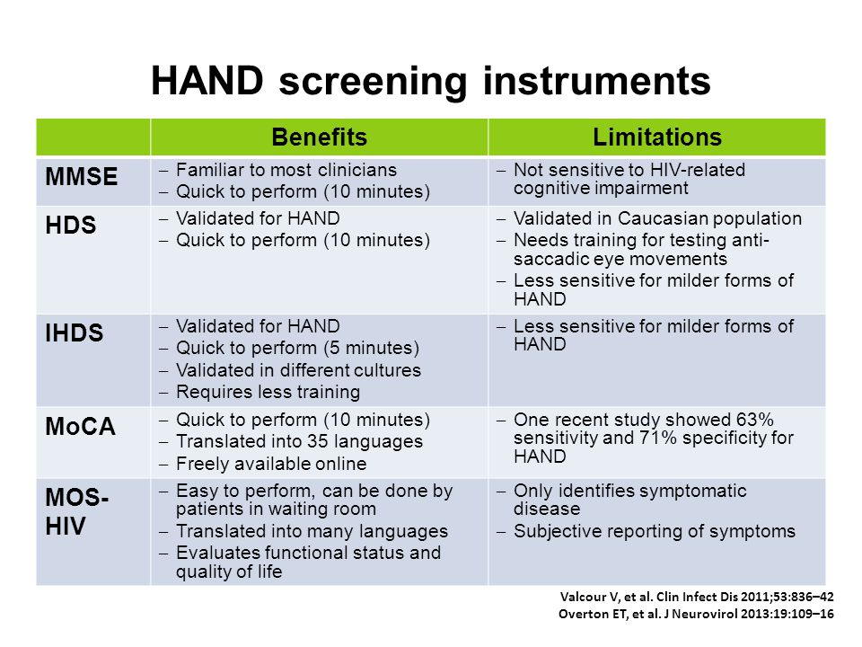 HAND screening instruments BenefitsLimitations MMSE – Familiar to most clinicians – Quick to perform (10 minutes) – Not sensitive to HIV-related cogni