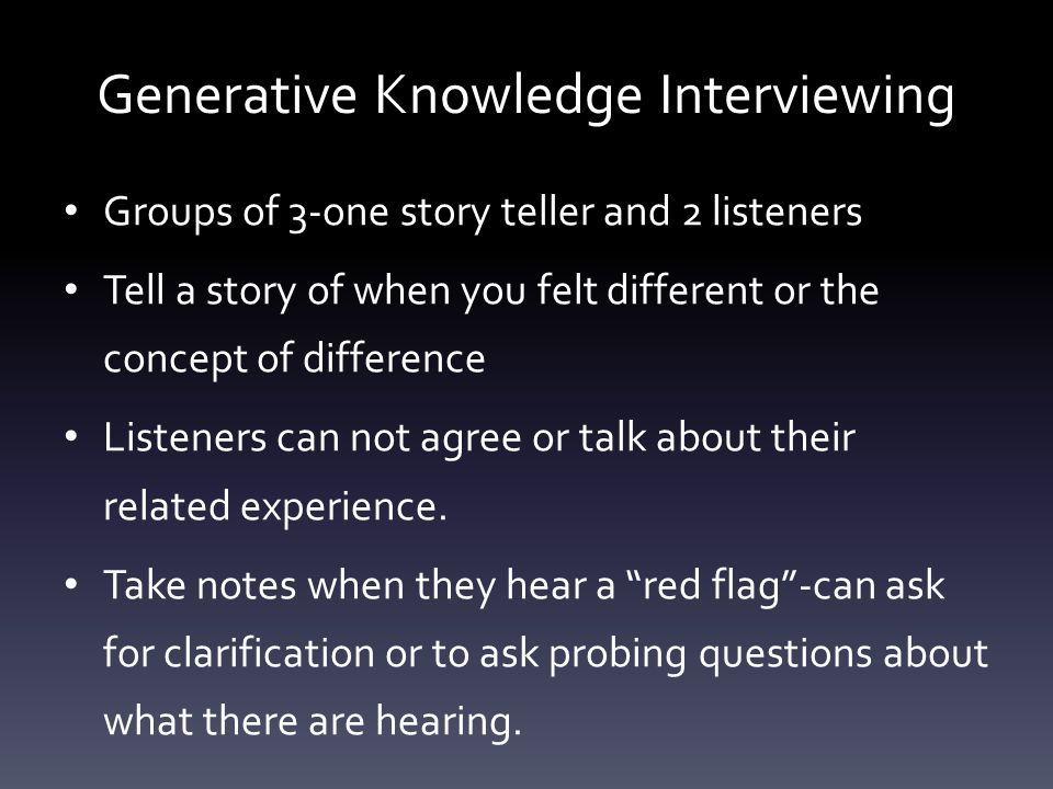Generative Knowledge Interviewing Groups of 3-one story teller and 2 listeners Tell a story of when you felt different or the concept of difference Li