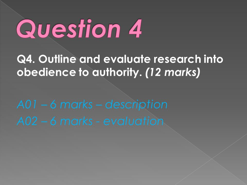 Q4.Outline and evaluate research into obedience to authority.