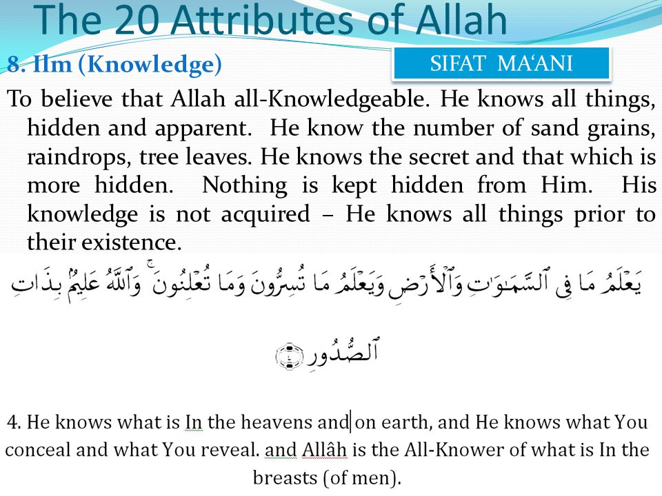 8. Ilm (Knowledge) To believe that Allah all-Knowledgeable.