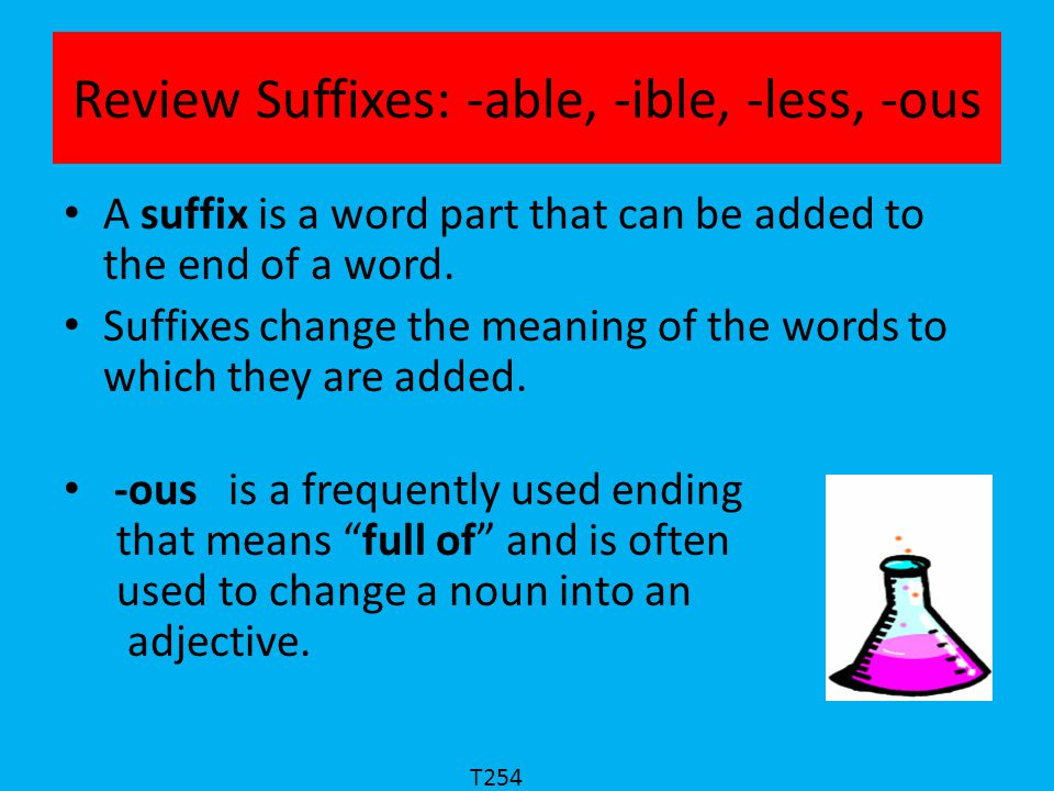 Review Suffixes: -able, -ible, -less, -ous fame Fame is a noun meaning the condition of being well-known. Let's cross out the final e and add –ous to make famous.