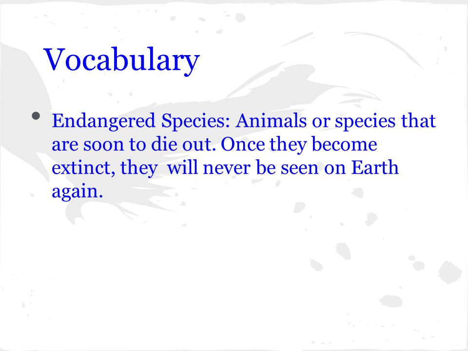 Vocabulary Endangered Species: Animals or species that are soon to die out.